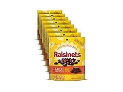 Raisinets Milk Chocolate Covered Raisins, 8 Pack