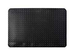 3' Indoor Diamond Mat, Solid Black