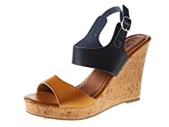 Carrini Double Strapped Wedge Sandal, Camel/Black