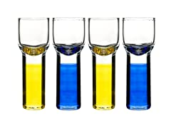 Sagaform Shot Glasses - S/4, Blue/Yellow