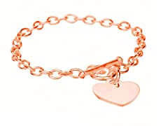 18K Rose Gold Rolo Chain Heart Bracelet