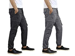 Men's Cotton Twill Cargo Joggers 2-Pack