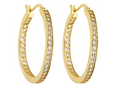 18kt Gold Plated 35mm CZ Hoops