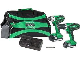 Metabo HPT KC18DGLS 18V Cordless Hammer Drill and Impact Driver Combo Kit, 2-1.5Ah Lithium Ion Batteries