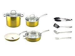 Kevin Dundon 11 Piece Cookware Set Gold