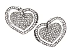 18kt Plated Double Heart CZ Earrings