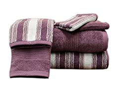 Colonial 6 Piece Towel Set - Plum Stripe