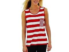 Women's Sleeveless Shirt, Red and White Stripe