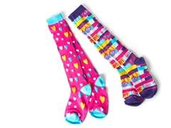 Hearts & Peace Signs Knee Socks (2 Pair)