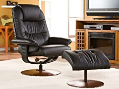 Black Bonded Leather Recliner & Ottoman