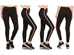 Women's Cotton Blend Side Stripe Active Leggings 4-Pack