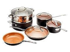 10pc Non-Stick Cookware Set - 2 Colors