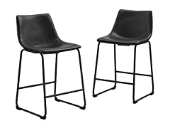Faux Leather Counter Stools (Set of 2)