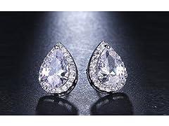 Teardrop Cut Halo Stud Earrings