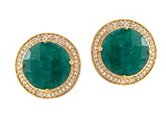 Gold-Plated SS Genuine Dyed Emerald Stud Earrings