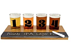Beer Glass Tasting Set w/Chalkboard