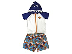 Blue Shark Swimsuit & Coverup (2T-4T)