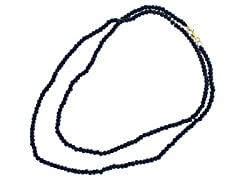 18k Plated Black Onyx Bead Necklace