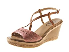 Carrini Wedge Sandal, Coral/Tan