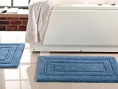 Soft Cotton 2-Piece Plush Bath Rug Set