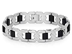 Stainless Steel Bracelet w/ Rubber