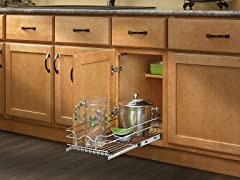 """Small Chrome Pullout Basket, 11.5"""""""