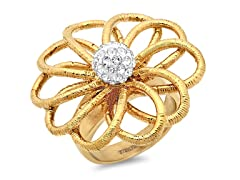 18kt Gold Plated Blooming Ring w/ Accent