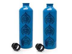 Gaiam Blue Tres Medallion Aluminum Bottle 2pk