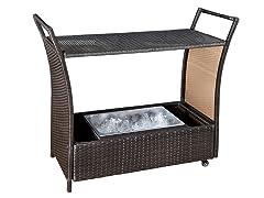 Tilton Outdoor Wicker Aluminum Bar Cart