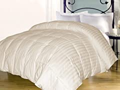 Stripe Down Alternative Comforter-Ivory-3 Sizes