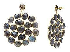 18k Gold Plated SS Labradorite Earrings