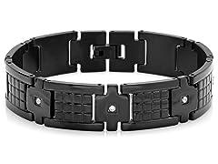 SS Black IP Link Bracelet w/ CZ