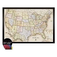 Deals on Home Magnetics Framed Magnetic USA Map Art w/20 Bonus Magnets