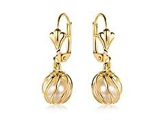 Drop Caged Pearl Earrings