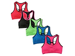 6Pk Neon Color Front Cross Sports Bras