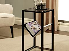 Rectangle Glass End Table Bookshelf