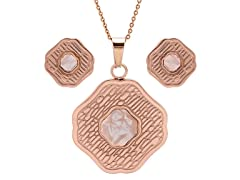 18kt Rose Gold Plated Texture MOP Set