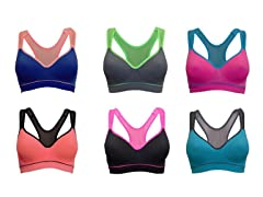 EAG Women's Mesh Back Sports Bras-6 Pack