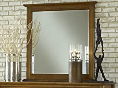 City II Beveled Glass Mirror in Pecan
