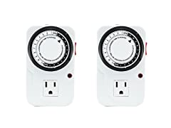 24-Hour Grounded Analog Timer, 2 Pack