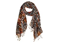 Kitara  Zebra Print Scarf Orange & Brown
