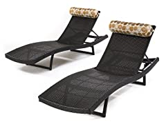 Woven Wave Loungers with Bolster Pillows