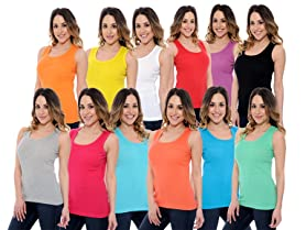 12 Pack Ladies Ribbed Tank Tops