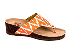Cara Thong Wedge Sandal, Orange Print