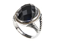 18kt Gold Accent Black Agate Oval Ring