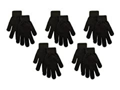 Unisex Black Gloves 5-Pack