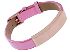14K Rose Gold Plated Stainless Steel & Genuine Pink Leather ID Bracelet