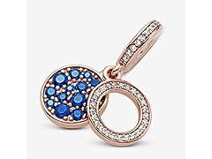 Pandora Blue Disc, Blue & Clear Charm
