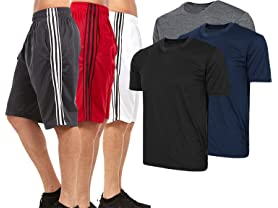 Men's Athletic Performance Shorts and Tees Multi-Packs