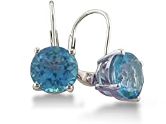 5ct Blue Topaz Earrings in Sterling Silver